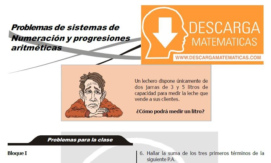 EJERCICIOS DE SISTEMAS DE NUMERACION Y PROGRESIONES ARITMETICAS