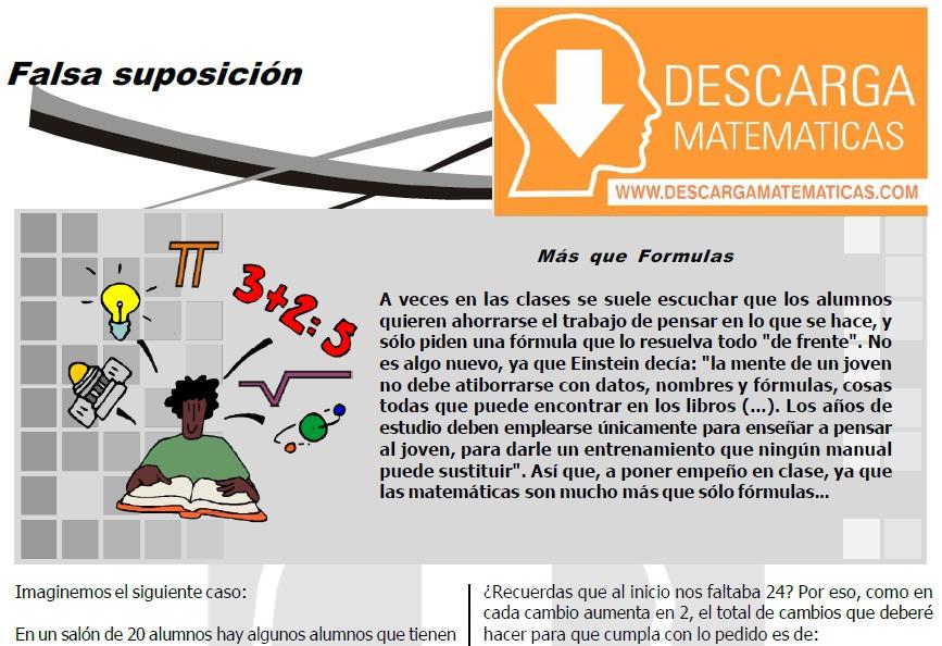 FALSA SUPOSICIÓN PARA ESTUDIANTES DE PRIMERO DE SECUNDARIA