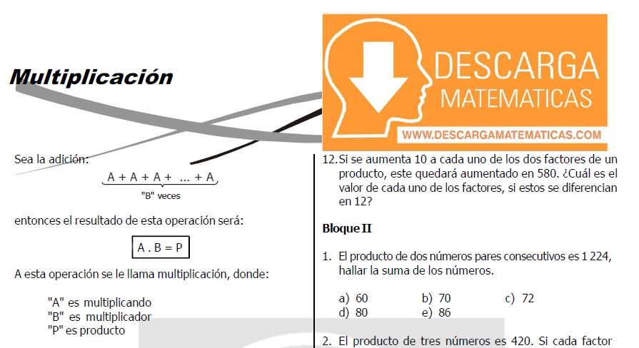 MULTIPLICACIÓN PARA ESTUDIANTES DE TERCERO DE SECUNDARIA