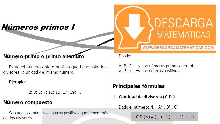 NUMEROS PRIMOS PARA ESTUDIANTES DE TERCERO DE SECUNDARIA