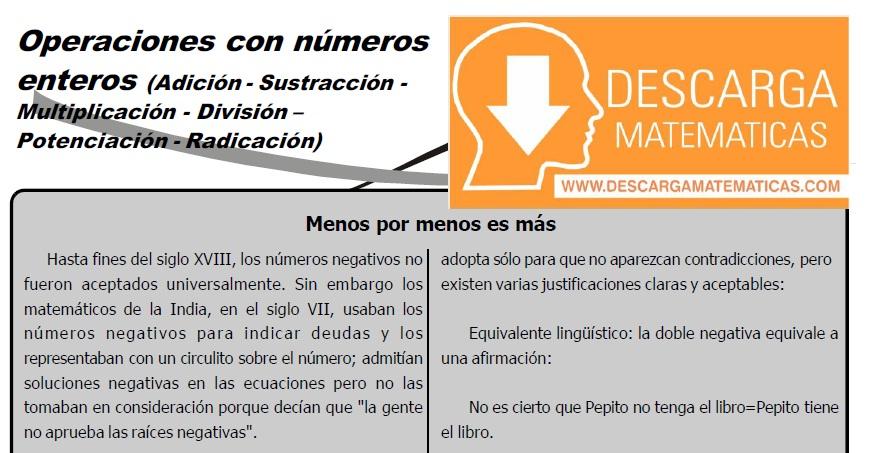 OPERACIONES CON NÚMEROS ENTEROS PARA ESTUDIANTES DE SEGUNDO DE SECUNDARIA