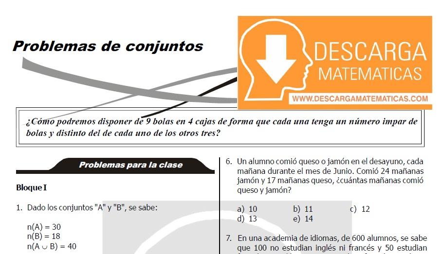Descargar Problemas De Conjuntos Para Estudiantes De Tercero De Secundaria Descarga Matematicas