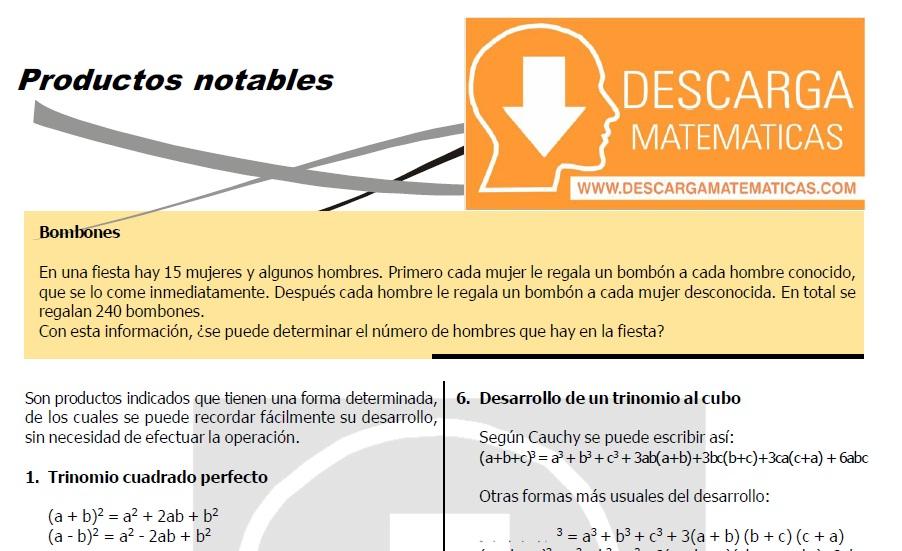 PRODUCTOS NOTABLES – ALGEBRA CUARTO DE SECUNDARIA