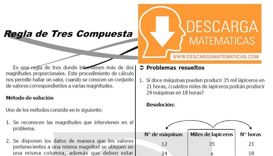 REGLA DE TRES COMPUESTA PARA ESTUDIANTES DE SEGUNDO DE SECUNDARIA