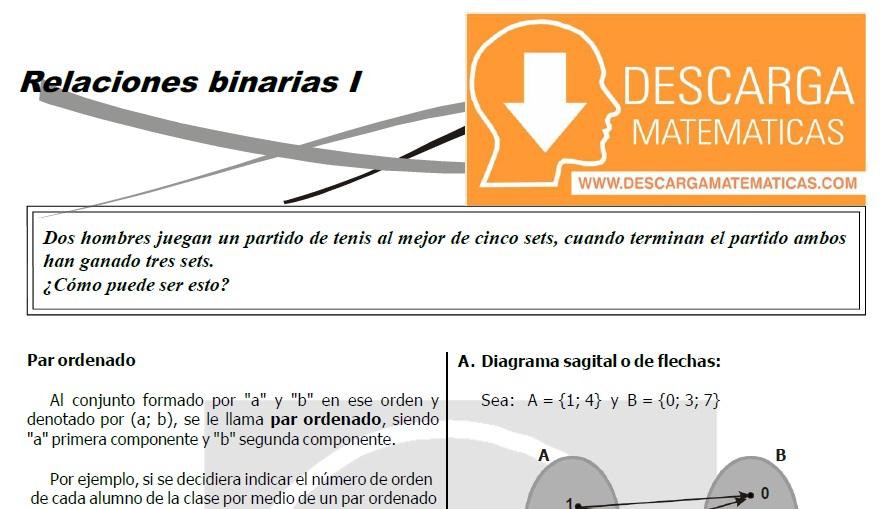 RELACIONES BINARIAS PARA ESTUDIANTES DE TERCERO DE SECUNDARIA