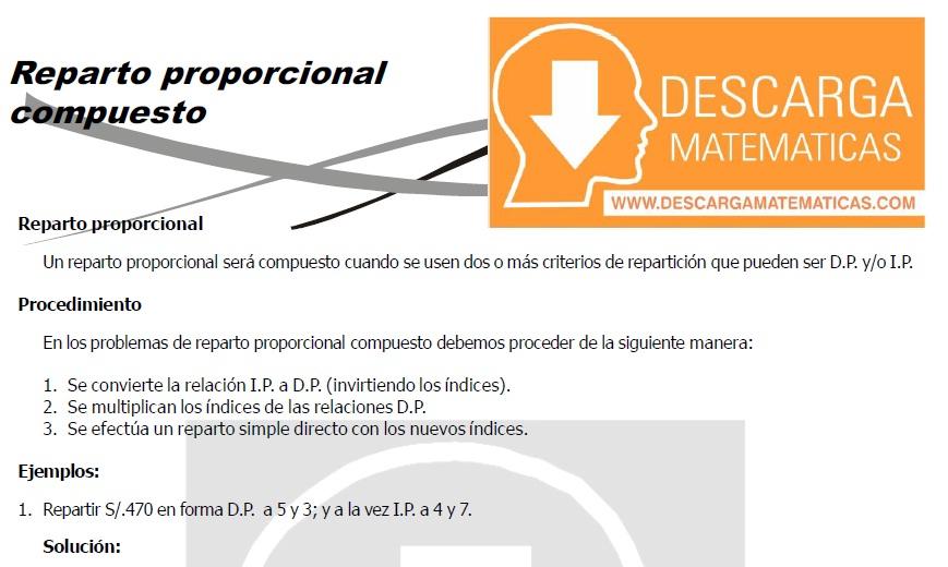 REPARTO PROPORCIONAL COMPUESTO - SEGUNDO DE SECUNDARIA