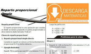 REPARTO PROPORCIONAL SIMPLE - SEGUNDO DE SECUNDARIA