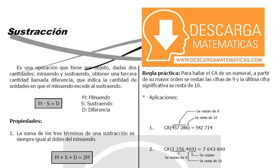 SUSTRACCIÓN PARA ESTUDIANTES DE TERCERO DE SECUNDARIA