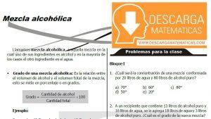 TEORÍA Y EJERCICIOS DE MEZCLA ALCOHOLICA - SEGUNDO DE SECUNDARIA