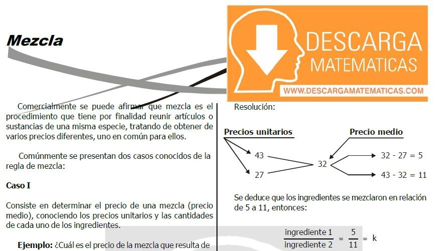 TEORÍA Y EJERCICIOS DE MEZCLAS - SEGUNDO DE SECUNDARIA
