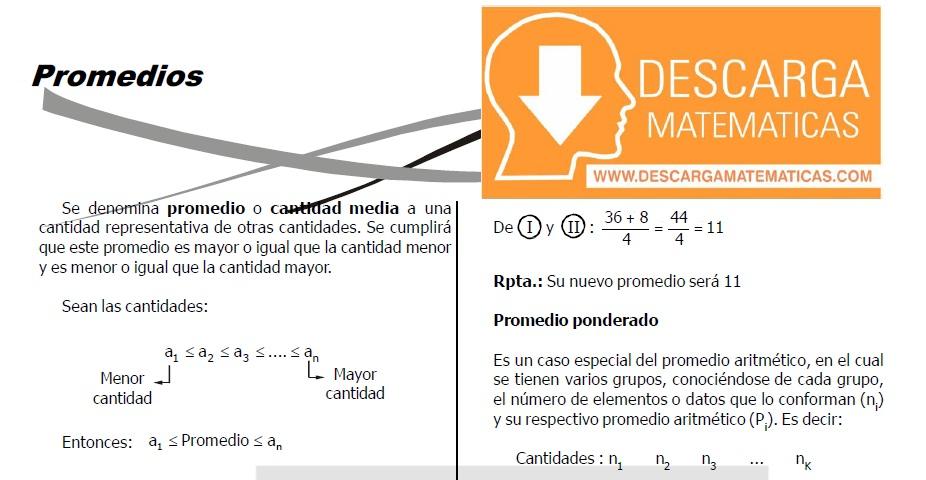 TEORÍA Y EJERCICIOS DE PROMEDIOS - SEGUNDO DE SECUNDARIA