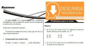 TEORÍA Y EJERCICIOS DE RAZONES - SEGUNDO DE SECUNDARIA