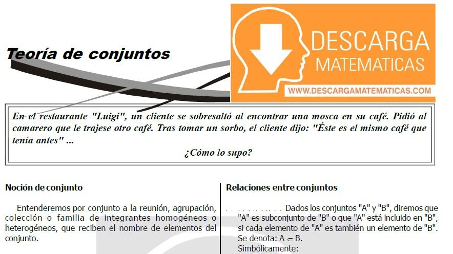 TEORIA DE CONJUNTOS PARA ESTUDIANTES DE TERCERO DE SECUNDARIA