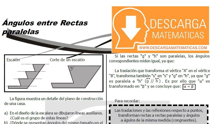 DESCARGAR ÁNGULOS ENTRE RECTAS PARALELAS PRIMERO DE SECUNDARIA