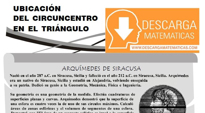 UBICACIÓN DEL CIRCUNCENTRO EN EL TRIÁNGULO - PRIMERO DE SECUNDARIA