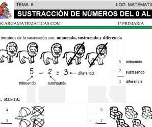 DESCARGAR SUSTRACCION DE NUMEROS DEL 0 AL 9 – MATEMATICA PRIMERO DE PRIMARIA