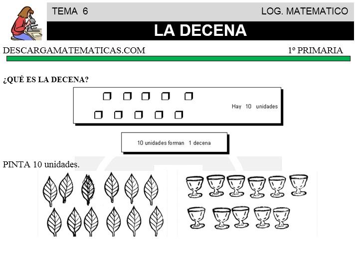 06 LA DECENA - MATEMATICA PRIMERO DE PRIMARIA