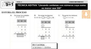 08 TÉCNICA ADITIVA - Llevando centenas con números cuya suma es menor que 500 - SEGUNDO DE PRIMARIA
