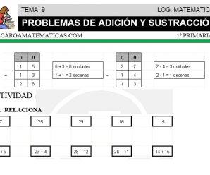 DESCARGAR PROBLEMAS DE ADICION Y SUSTRACCION – MATEMATICA PRIMERO DE PRIMARIA