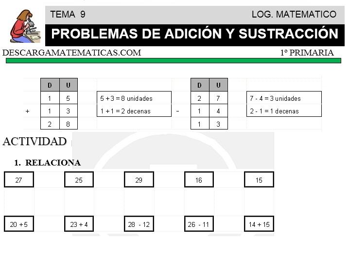 09 PROBLEMAS DE ADICIÓN Y SUSTRACCIÓN - PRIMERO DE PRIMARIA