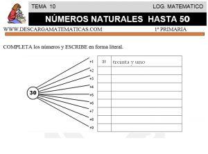10 NÚMEROS NATURALES HASTA 50 - PRIMERO DE PRIMARIA
