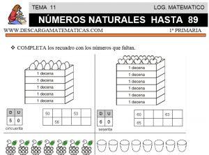 11 NÚMEROS NATURALES HASTA 89 - PRIMERO DE PRIMARIA