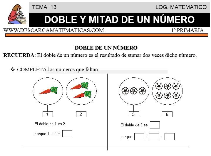 13 DOBLE Y MITAD DE UN NÚMERO - PRIMERO DE PRIMARIA