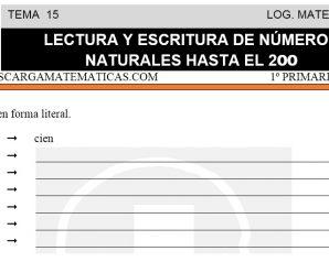 DESCARGAR LECTURA Y ESCRITURA DE NUMEROS HASTA EL 200 – MATEMATICA PRIMERO DE PRIMARIA