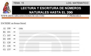 15 LECTURA Y ESCRITURA DE NÚMEROS NATURALES HASTA EL 200 - PRIMERO DE PRIMARIA