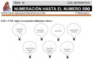 16 NUMERACIÓN HASTA EL 500 - PRIMERO DE PRIMARIA