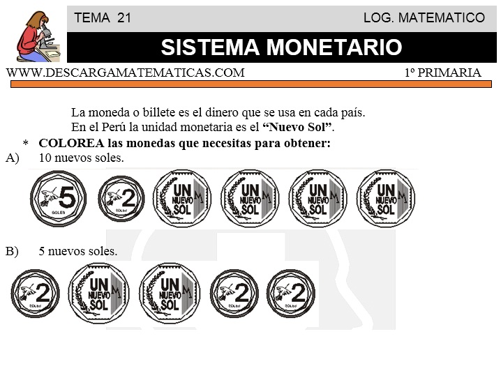 21 SISTEMA MONETARIO - PRIMERO DE PRIMARIA