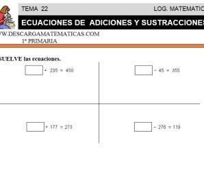 DESCARGAR ECUACIONES DE ADICIONES Y SUSTRACCIONES – MATEMATICA PRIMERO DE PRIMARIA