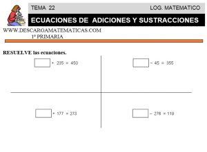 22 ECUACIONES DE ADICIONES Y SUSTRACCIONES - PRIMERO DE PRIMARIA