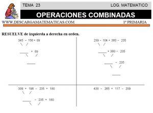 23 OPERACIONES COMBINADAS - PRIMERO DE PRIMARIA