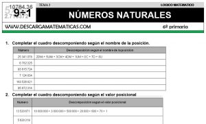 03 NÚMEROS NATURALES - SEXTO DE PRIMARIA