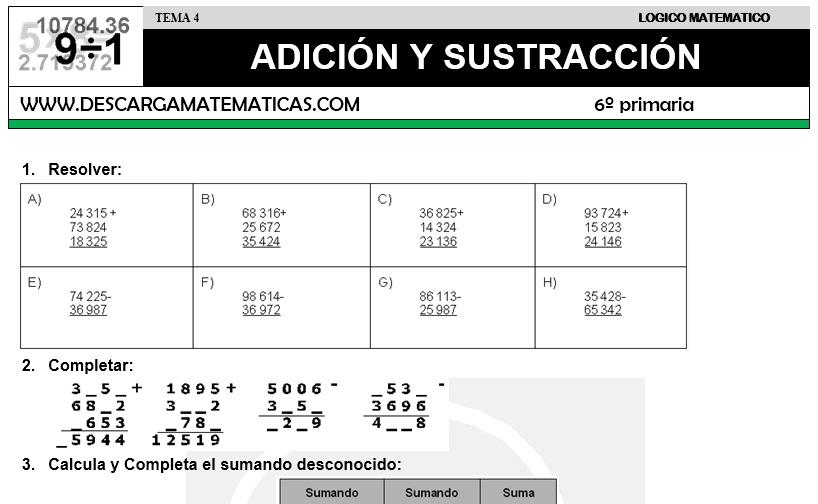 04 ADICIÓN Y SUSTRACCIÓN - SEXTO DE PRIMARIA