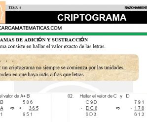 DESCARGAR CRIPTOGRAMA – MATEMATICA CUARTO DE PRIMARIA