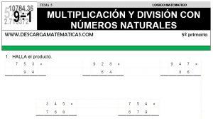 05 MULTIPLICACIÓN Y DIVISIÓN DE NÚMEROS - QUINTO DE PRIMARIA