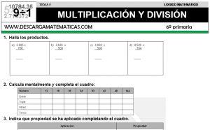 05 MULTIPLICACIÓN Y DIVISIÓN - SEXTO DE PRIMARIA