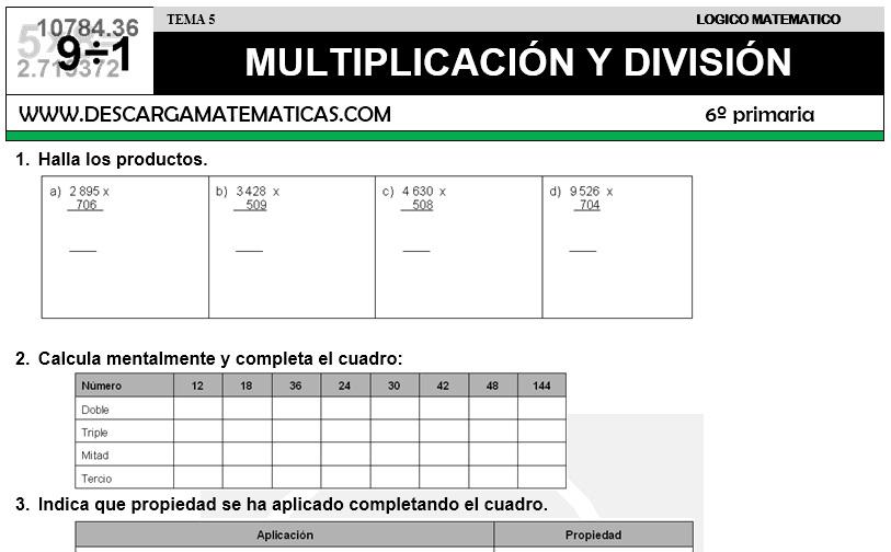 Descargar Multiplicacion Y Division Matematica Sexto De Primaria Descarga Matematicas