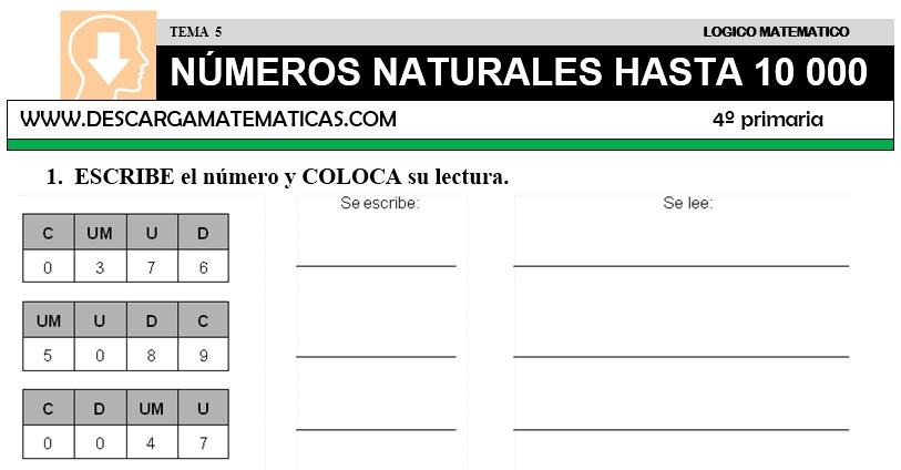 Ejercicios De Matematicas De Cuarto De Primaria   Descargar Numeros Hasta 10000 Matematica Cuarto De Primaria