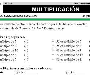 DESCARGAR MULTIPLICACION – MATEMATICA CUARTO DE PRIMARIA