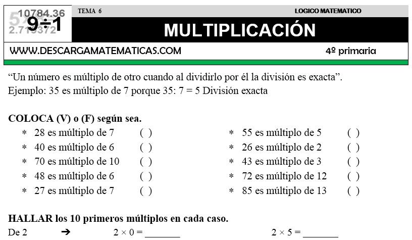 06 MULTIPLICACIÓN - CUARTO DE PRIMARIA