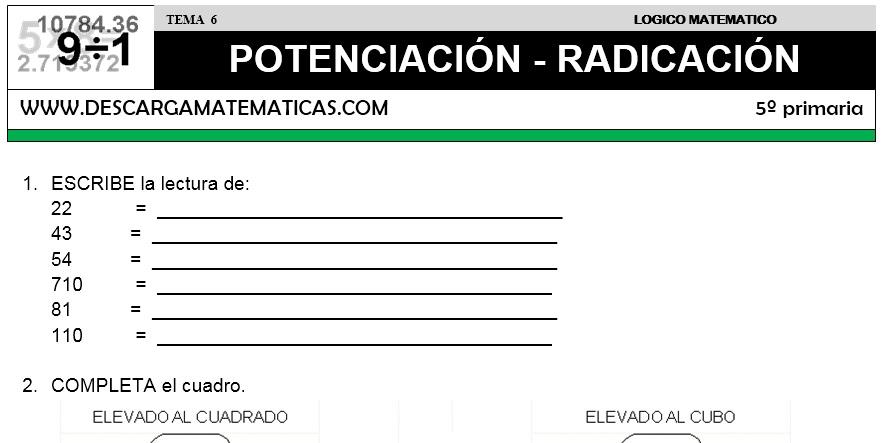 06 POTENCIACIÓN - RADICACIÓN - QUINTO DE PRIMARIA