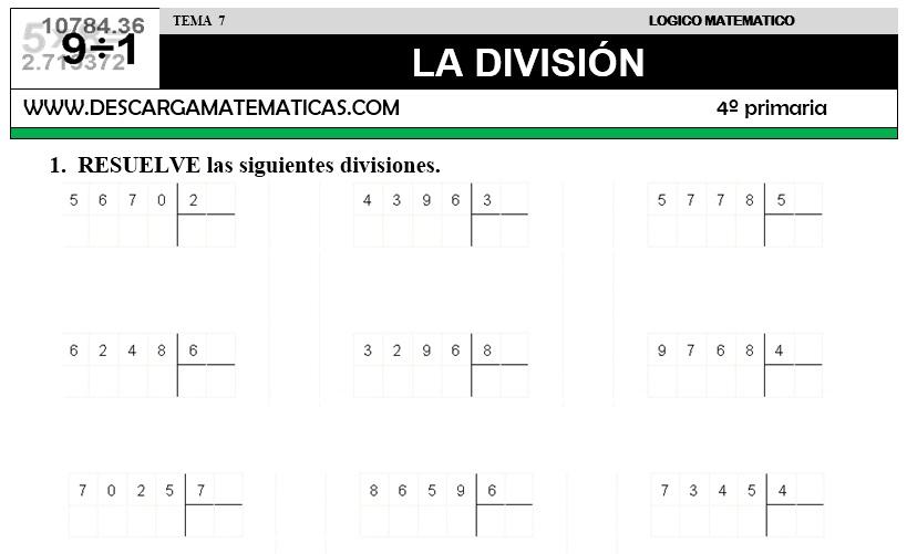DESCARGAR DIVISION – MATEMATICA CUARTO DE PRIMARIA – Descarga ...