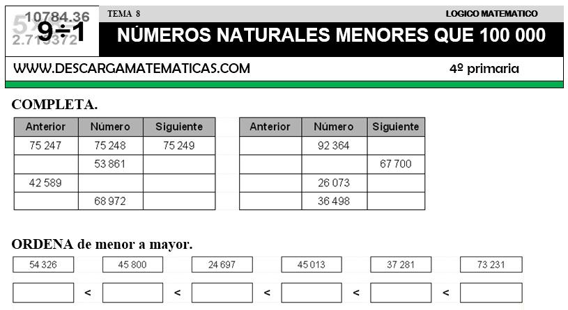 08 NÚMEROS NATURALES MENORES QUE 100 000 - CUARTO DE PRIMARIA