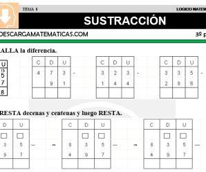 DESCARGAR LA SUSTRACCION – MATEMATICA TERCERO DE PRIMARIA