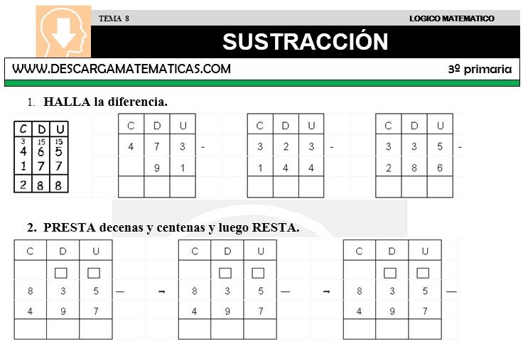 08 SUSTRACCIÓN - TERCERO DE PRIMARIA