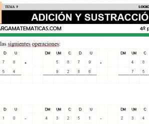DESCARGAR ADICION Y SUSTRACCION – MATEMATICA CUARTO DE PRIMARIA