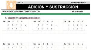 09 ADICIÓN Y SUSTRACCIÓN - CUARTO DE PRIMARIA